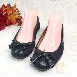 Signature coach black leather flats shoes